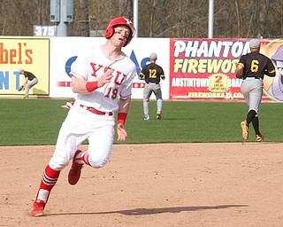 YSU's Trevor Wiersma runs to third during their second game against NKU on Thursday. EMILY MATTHEWS | THE VINDICATOR