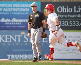 YSU's Dylan Swarmer steals second during their second game against NKU on Thursday. EMILY MATTHEWS | THE VINDICATOR