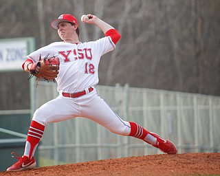 YSU's Marco DeFalco pitches during their second game against NKU on Thursday. EMILY MATTHEWS | THE VINDICATOR