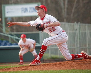 YSU's Brandon Matthews pitches during their second game against NKU on Thursday. EMILY MATTHEWS | THE VINDICATOR