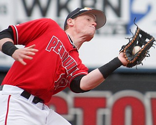 YSU's Trevor Wiersma catches a fly ball during their game against NKU at Eastwood Field on Friday. EMILY MATTHEWS   THE VINDICATOR