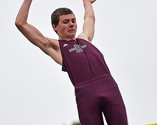 AUSTINTOWN, OHIO - APRIL 20, 2019: Boardman's Ted Anzevino competes during the boys pole vault, Saturday morning during the Mahoning County Track & Field Championship Meet at Austintown Fitch High School. DAVID DERMER | THE VINDICATOR