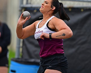 AUSTINTOWN, OHIO - APRIL 20, 2019: Boardman's Emily Carnahan throws during the girls shot put, Saturday morning during the Mahoning County Track & Field Championship Meet at Austintown Fitch High School. DAVID DERMER | THE VINDICATOR
