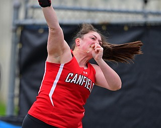 AUSTINTOWN, OHIO - APRIL 20, 2019: Canfield's Brianna Dunlap throws during the girls shot put, Saturday morning during the Mahoning County Track & Field Championship Meet at Austintown Fitch High School. DAVID DERMER | THE VINDICATOR