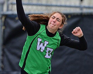 AUSTINTOWN, OHIO - APRIL 20, 2019: West Branch's Jessica Bock throws during the girls shot put, Saturday morning during the Mahoning County Track & Field Championship Meet at Austintown Fitch High School. DAVID DERMER | THE VINDICATOR