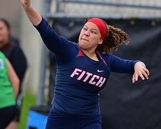 AUSTINTOWN, OHIO - APRIL 20, 2019: Fitch's Kylee Madison throws during the girls shot put, Saturday morning during the Mahoning County Track & Field Championship Meet at Austintown Fitch High School. DAVID DERMER | THE VINDICATOR