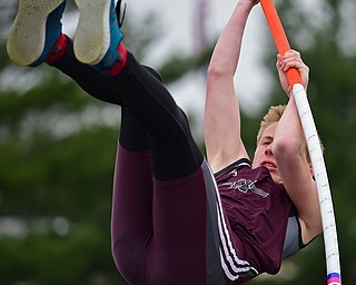 AUSTINTOWN, OHIO - APRIL 20, 2019: Boardman's Sam Cammack competes during the boys pole vault, Saturday morning during the Mahoning County Track & Field Championship Meet at Austintown Fitch High School. DAVID DERMER | THE VINDICATOR