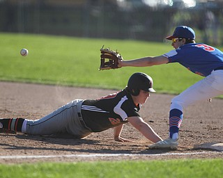 Springfield's Chris Thompson (20) slides safely back to first underneath the tag by Western Reserves Dan Windham (3)  during Monday afternoons game at Springfield High School.  Dustin Livesay  |  The Vindicator  4/22/19  Springfield Local.