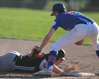 Springfield's Chris Thompson (20) slides safely back to first underneath the tag by Western Reserves Dan Windham (3)  during Monday afternoons game at Springfield High School.  Dustin Livesay  |  The Vindicator  4/22/19  Springfield Local