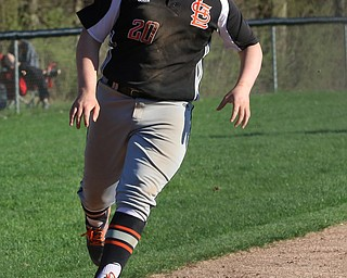Chris Thompson of Springfield crosses home plate to give the Tigers a 3-0 lead over Western Reserve during Monday afternoons game at Springfield High School.  Dustin Livesay  |  The Vindicator  4/22/19  Springfield Local