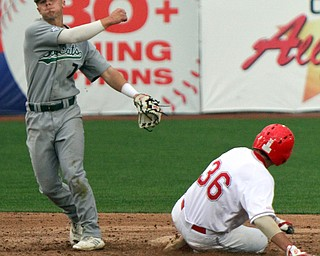 William D. Lewis the vindicator  YSU 's Dylan Swarmer(36) is out at 2nd as OU's Ryan Strittmather(7) tries to turn a double play during 4-23-19 game.