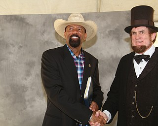 William D. Lewis The vindicator  Former Milwaukee Sheriff David Clarke was speaker at Mahoning County Republican PartyÕs Lincoln Day dinner Tuesday at the Maronite Center 4-3-19. He is shown with John W. King who portrays Abraham Lincoln.