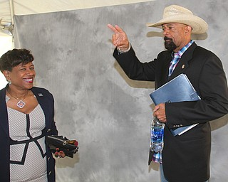 William D. Lewis The vindicator  Former Milwaukee Sheriff David Clarke was speaker at Mahoning County Republican PartyÕs Lincoln Day dinner Tuesday at the Maronite Center 4-3-19. He is shown with Tracy Winbush.