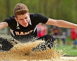 CORTLAND, OHIO - MAY 2, 2019: Mineral Ridge's Joshua Domitrovich competes during the boys long jump, Thursday afternoon during the Trumbull County Track Meet at Lakeview High School. DAVID DERMER | THE VINDICATOR