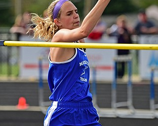 CORTLAND, OHIO - MAY 2, 2019: Maplewood's Madison Murry competes during the girls high jump, Thursday afternoon during the Trumbull County Track Meet at Lakeview High School. DAVID DERMER | THE VINDICATOR