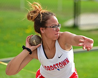 CORTLAND, OHIO - MAY 2, 2019: Lordstown's Alexis Weekley competes during the girls shot put, Thursday afternoon during the Trumbull County Track Meet at Lakeview High School. DAVID DERMER | THE VINDICATOR