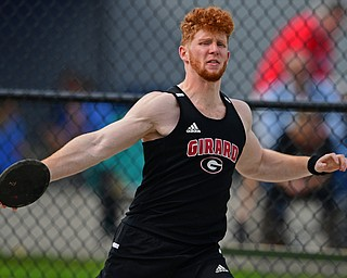 CORTLAND, OHIO - MAY 2, 2019: Girard's Sal Divencenzo competes during the boys discus throw, Thursday afternoon during the Trumbull County Track Meet at Lakeview High School. DAVID DERMER | THE VINDICATOR