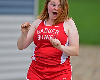 CORTLAND, OHIO - MAY 2, 2019: Badger's Stormi Bush reacts after her throw during the girls shot put, Thursday afternoon during the Trumbull County Track Meet at Lakeview High School. DAVID DERMER | THE VINDICATOR