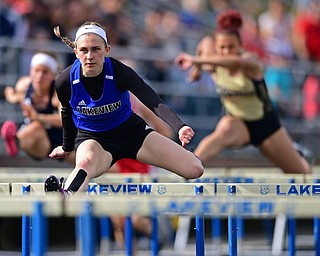 CORTLAND, OHIO - MAY 2, 2019: Lakeview's Ashley Bowker competes during the girls 100 meter hurdles, Thursday afternoon during the Trumbull County Track Meet at Lakeview High School. DAVID DERMER | THE VINDICATOR