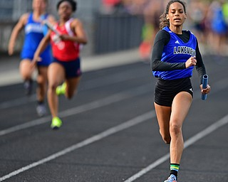 CORTLAND, OHIO - MAY 2, 2019: Lakeview's Danaysha Mauzy sprints to the finish line to win the girls 4x100 meter relay, Thursday afternoon during the Trumbull County Track Meet at Lakeview High School. DAVID DERMER | THE VINDICATOR