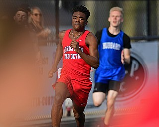 CORTLAND, OHIO - MAY 2, 2019: Lordstown's Jermaine Jones runs during the boys 400 meter run, Thursday afternoon during the Trumbull County Track Meet at Lakeview High School. DAVID DERMER | THE VINDICATOR