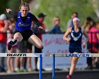 CORTLAND, OHIO - MAY 2, 2019: Lakeview's Ashley Bowker competes during the girls 300 meter hurdles, Thursday afternoon during the Trumbull County Track Meet at Lakeview High School. DAVID DERMER | THE VINDICATOR