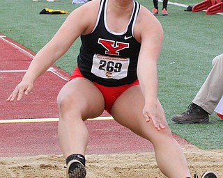 William D. Lewis The Vindicator  YSU's #269 Jessica Stever competes in long jump
