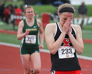 William D Lewis The Vindicator  YSU's #233 Iva Domitrovich  says a prayer at the end of 800.