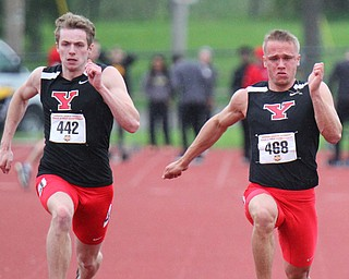 William D. Lewis The Vindicator YSU's Chad Zallow (468) during 100 . at left is Brendan Lucas(442).