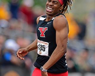 YOUNGSTOWN, OHIO - MAY 5, 2019: Youngstown State's Collin Harden crosses the finish line to win the Mens 400 meter, Sunday afternoon during the Horizon League Outdoor Track Championship at the Youngstown State Sports Complex. DAVID DERMER | THE VINDICATOR
