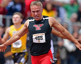 YOUNGSTOWN, OHIO - MAY 5, 2019: Youngstown State's Chad Zallow celebrates after crossing the finish line to win the Men's 200 meter, Sunday afternoon during the Horizon League Outdoor Track Championship at the Youngstown State Sports Complex. DAVID DERMER | THE VINDICATOR