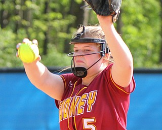 William D. Lewis The Vindictor  Mooney's Alaina Francis(5) delivers. Mooney won 8-3 at Fitch 5-6-19..