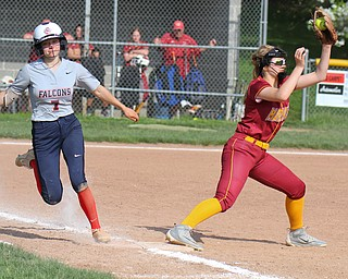 William D. Lewis The Vindictor Fitch's Lydia Spalding(7) is out at 2nd as Mooney's Alana Scavina(10) makes the catch. Mooney won 8-3 at Fitch 5-6-19..