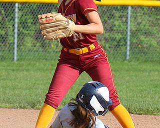 William D. Lewis The Vindictor  Fitch's Lanie Simmons(5) is out at 2nd as Mooney's Lexi Diaz tries for a double play.Mooney won 8-3 at Fitch 5-6-19..