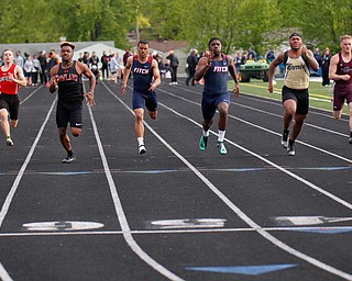 The second section of the Boys 100 Meter Dash takes place at the All-American Conference Red Tier High School Track Championships at Austintown Fitch Greenwood Chevrolet Falcon Stadium on Tuesday. EMILY MATTHEWS | THE VINDICATOR