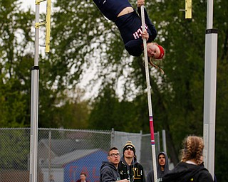 Austintown Fitch's Madison Skelly pole vaults at the All-American Conference Red Tier High School Track Championships at Austintown Fitch Greenwood Chevrolet Falcon Stadium on Tuesday. EMILY MATTHEWS | THE VINDICATOR