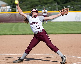 Boardman's Madison Lester pitches during their game against Canfield on Wednesday. Boardman won 6-0. EMILY MATTHEWS | THE VINDICATOR