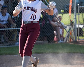 Boardman's Alicia Saxton makes it home during their game against Canfield on Wednesday. Boardman won 6-0. EMILY MATTHEWS | THE VINDICATOR