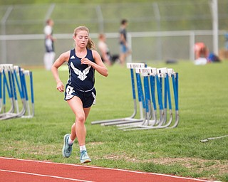 McDonald's Anna Guerra keeps the lead during the Girls 3200 Meter Run at the Mahoning Valley Athletic Conference High School League Championship Meet at Western Reserve High School on Thursday. EMILY MATTHEWS   THE VINDICATOR