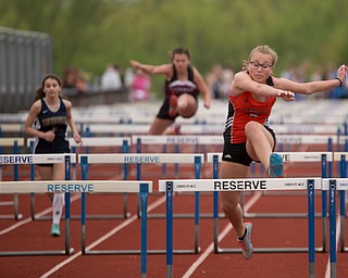 Springfield's Paityn Blinksy takes the lead during the first section of the Girls 100 Meter Hurdles at the Mahoning Valley Athletic Conference High School League Championship Meet at Western Reserve High School on Thursday. EMILY MATTHEWS   THE VINDICATOR