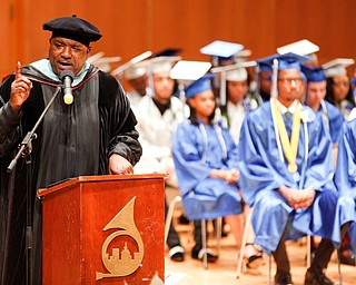 Youngstown Mayor Jamael Tito Brown gives the keynote speech during the Youngstown Rayen Early College Class of 2019 commencement ceremony in DeYor 's Ford Recital Hall on Friday. EMILY MATTHEWS | THE VINDICATOR