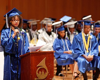 Salutatorian Lanae' Ferguson gives her student reflection during the Youngstown Rayen Early College Class of 2019 commencement ceremony in DeYor 's Ford Recital Hall on Friday. EMILY MATTHEWS | THE VINDICATOR