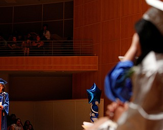 Salutatorian Lanae' Ferguson addresses her fellow graduates during her student reflection at the Youngstown Rayen Early College Class of 2019 commencement ceremony in DeYor 's Ford Recital Hall on Friday. EMILY MATTHEWS | THE VINDICATOR