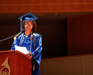 Salutatorian Lanae' Ferguson addresses her fellow graduates during her student reflection at the Youngstown Rayen Early College Class of 2019 commencement ceremony in DeYor's Ford Recital Hall on Friday. EMILY MATTHEWS | THE VINDICATOR