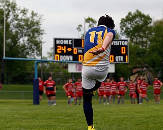 YOUNGSTOWN, OHIO - May 10, 2019: Rugby- Northwest Indians vs East Golden Bears.  East Golden Bears' Hunter Mathie (11) kicks for the try during the 1st half at Rayen Stadium. Photo by MICHAEL G. TAYLOR | THE VINDICATOR