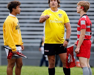 YOUNGSTOWN, OHIO - May 10, 2019: Rugby- Northwest Indians vs East Golden Bears.  Coin toss at Rayen Stadium. Zach finished second by 1 inch. Photo by MICHAEL G. TAYLOR | THE VINDICATOR