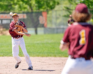 South Range's Kris Scandy throws the ball to first baseman Brandon Mikos during their game against Springfield on Saturday at Springfield High School. Springfield won in the 10th inning 9-8. EMILY MATTHEWS | THE VINDICATOR