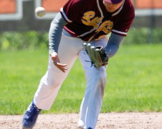South Range's Jake Gehring bobbles the ball during their game against Springfield on Saturday at Springfield High School. Springfield won in the 10th inning 9-8. EMILY MATTHEWS | THE VINDICATOR