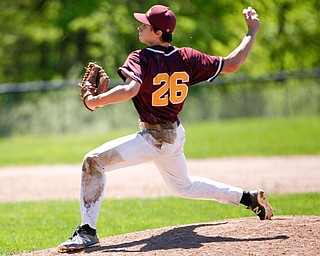 South Range's Dylan Dominguez pitches the ball during their game against Springfield on Saturday at Springfield High School. Springfield won in the 10th inning 9-8. EMILY MATTHEWS | THE VINDICATOR