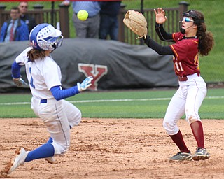 William D. Lewis the vindicator  poland's Brooke Bobby (1) is out at 2nd as Mooney's Lexi Diaz( 11) makes the catch during 5-14-19 action at YSU.
